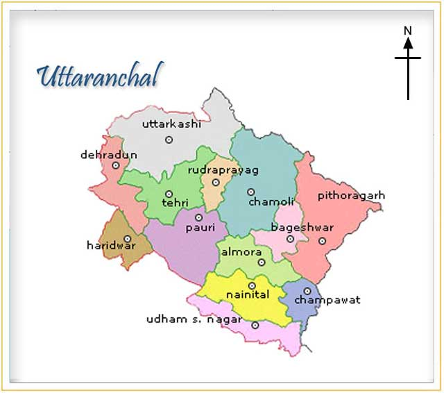 Map of Uttaranchal